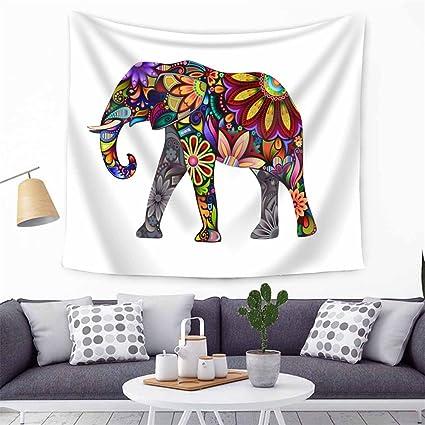 Hippy Mandala bohemio tapices elefante indio pared Haning tapiz indio blanco y negro – tapiz bohemio