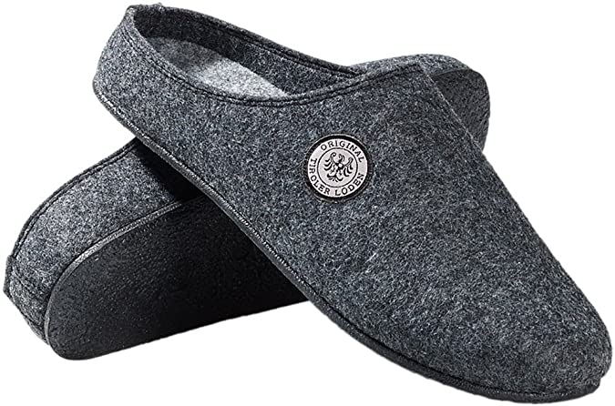 Tiroler Loden Filz-Pantoffel, Hausschuhe für Erwachsene mit herausnehmbarem Fußbett, Gummisohle, in dunkelblau