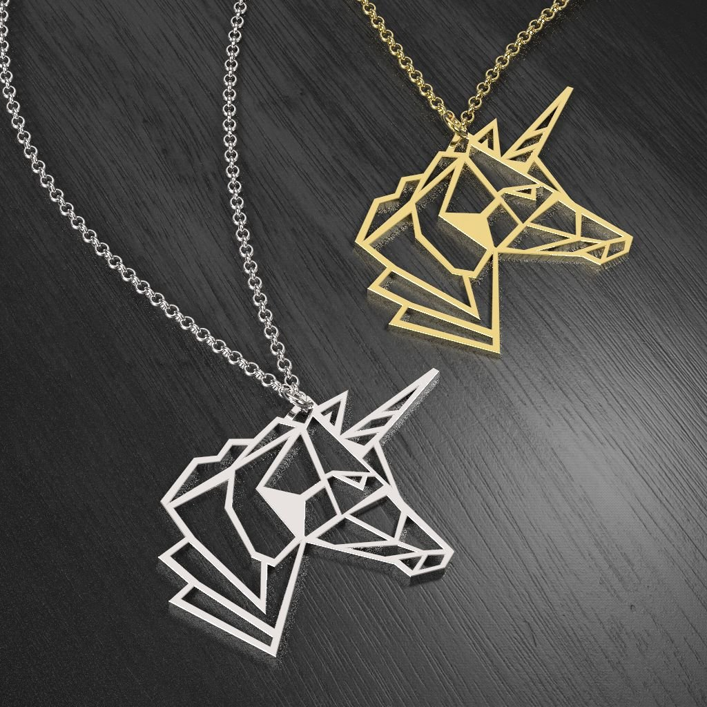 14K Yellow Gold Unicorn Elegance Outline Cutout Necklace by JEWLR