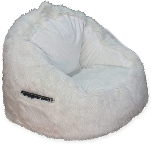 Structured Tablet Fur Pocket Bean Bag in Cream w Side Pocket for Book or Tablet, 250 lb. Weight Capacity