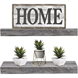 Sorbus Floating Shelf Set — Rustic Wood Hanging Rectangle Wall Shelves — Perfect for Home Décor, Trophy Display, Photo Frames, and More (2-Pack, Grey)