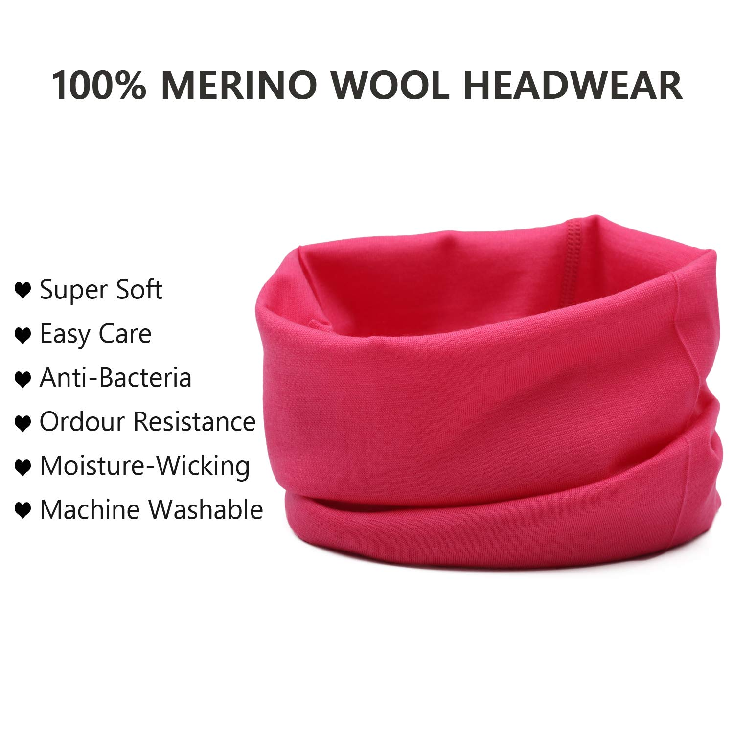 Lightweight 100/% Merino Wool Face Mask,Multifunctional Neck Gaiter for Dust /& UV Protection Sports Casual Headwear
