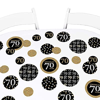 Big Dot of Happiness Adult 70th Birthday - Gold - Birthday Party Giant Circle Confetti - Party Decorations - Large Confetti 27 Count: Health & Personal Care