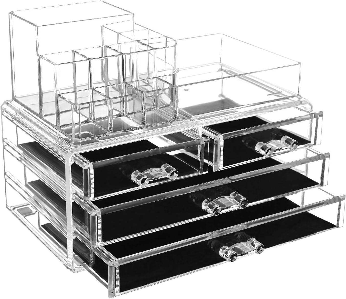 SONGMICS Organiseur de Maquillage, avec boîte de Rangement en matière Acrylique avec 2 présentoirs et 4 Grands tiroirs, 24 x 13,5 x 18,5cm