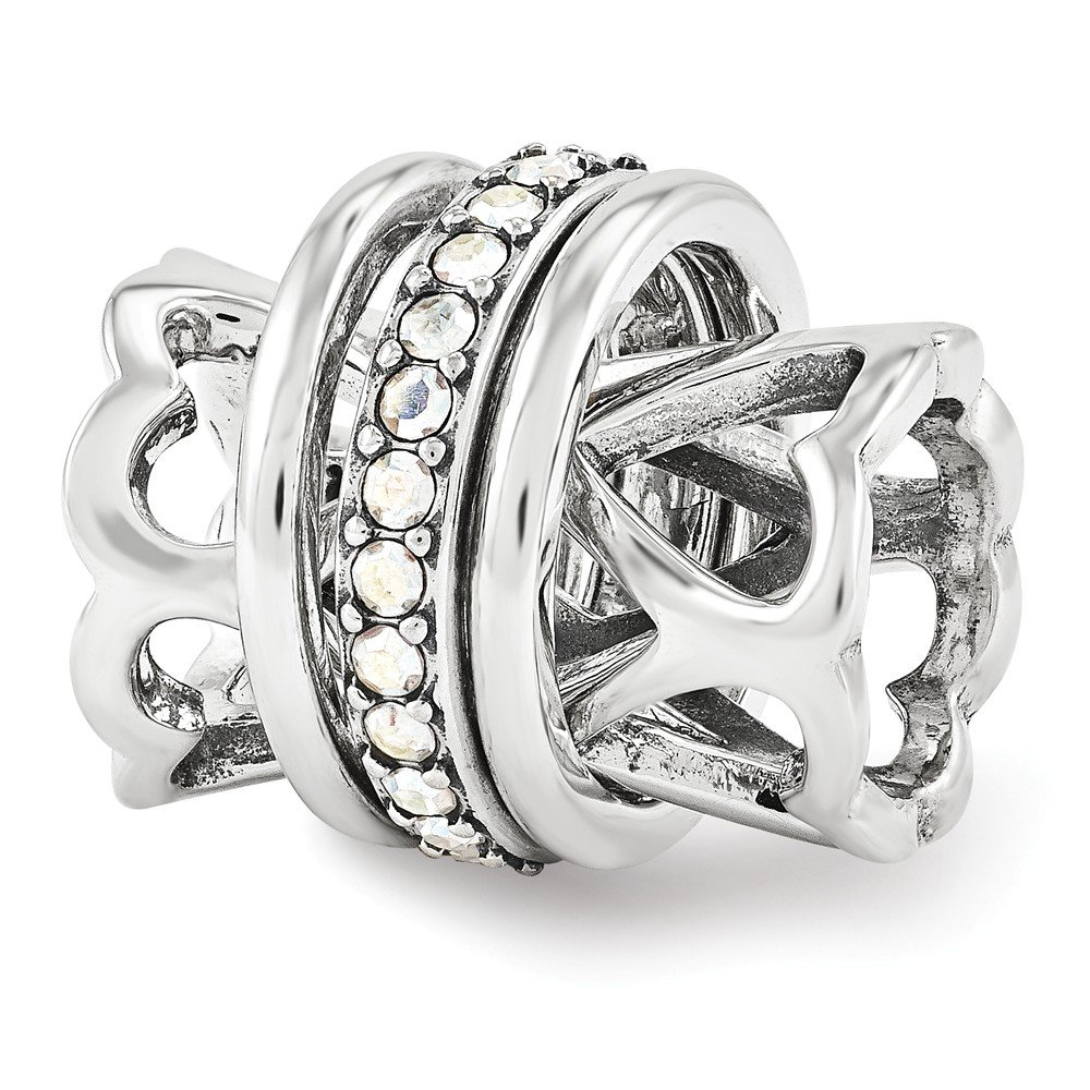 Sterling Silver with Swarovski Crystals Heart Spinner Bead Charm