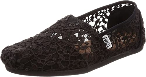 TOMS Classic Black Lace Leaves Womens