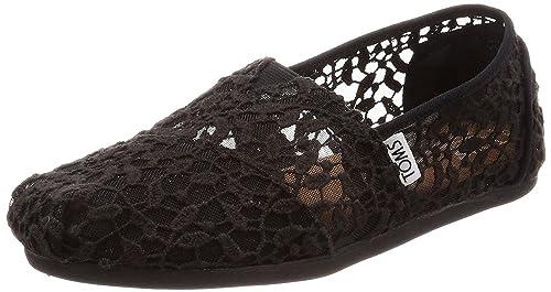 b5696e1a224c TOMS Classic Black Lace Leaves Womens Espadrilles Shoes  Amazon.co ...