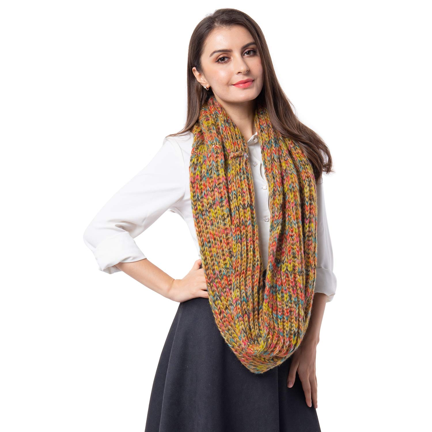 Yellow with Multi color Infinity Lightweight Scarf Wrap Hijabs for Women 27.96x14.96  100% Acrylic