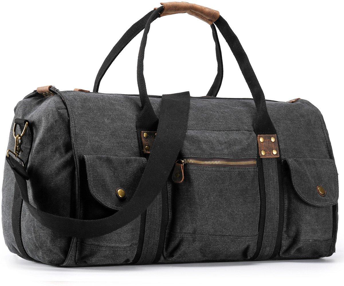Aidonger Travel Bag Gym Carry on Shoulder Bag Large Capacity (X-Large, Black)