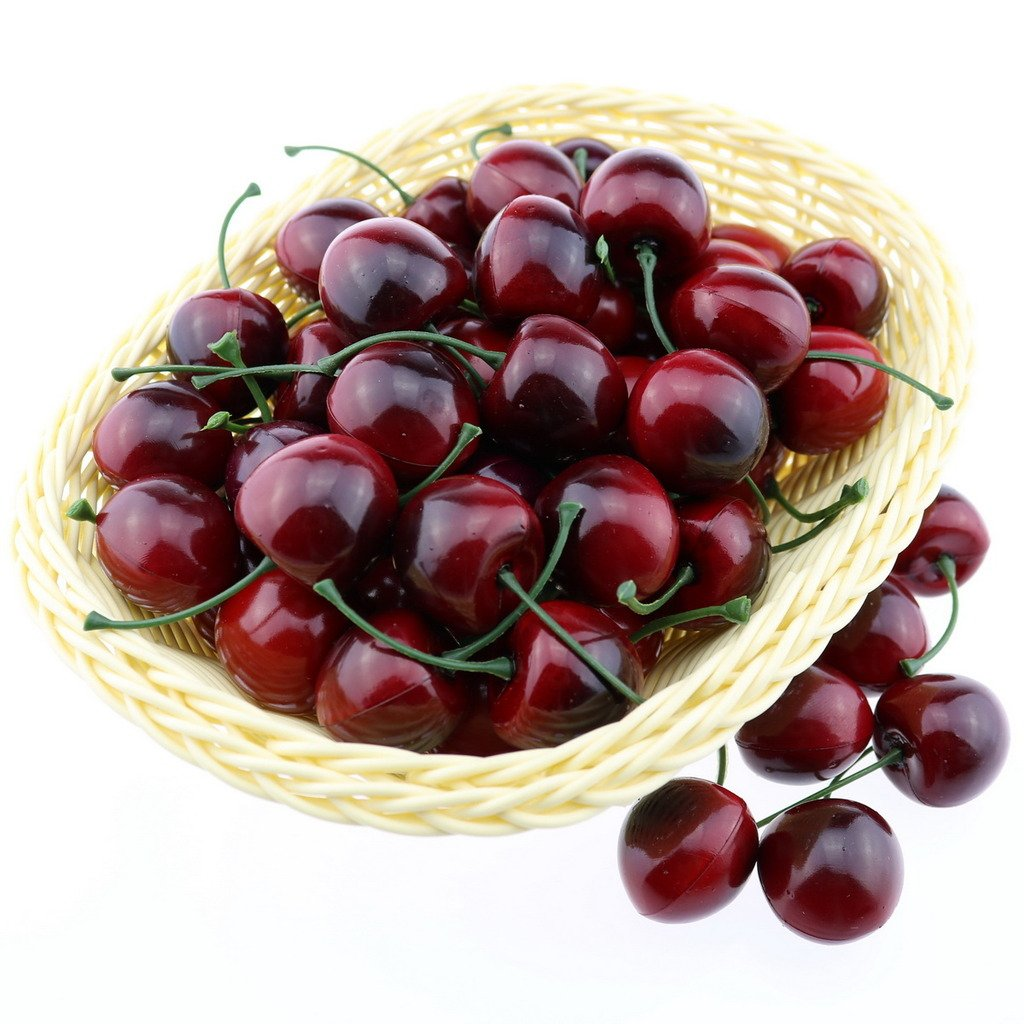 Gresorth 50 Stück Künstliche Lebensechte Rot Schwarz Kirsche Kirschen Deko Gefälschte Früchte Obst Party Festival Dekoration
