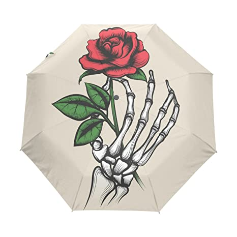 Amazon Com Naanle Skeleton Hand Red Rose Tattoo Style Auto Open