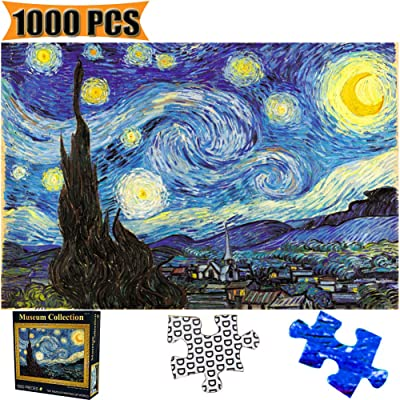 Jigsaw Puzzles 1000 Pieces Starry Night Vincent Van Gogh Artwork Art for Teen Adult Grown Up Puzzles Large Size Toy Games Educational Gift Jigsaw Puzzle 1000 PCS Home Decor (Starry Night): Kitchen & Dining