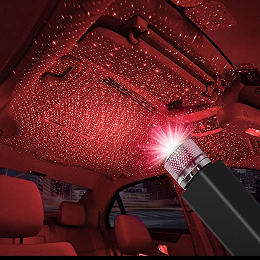 2 Pcs Red /& Purple Sound-Activated USB Star Light Projector Bedroom Party Decor Mini 3-Mode Starlight Projector for Car Interior Roof Ceiling