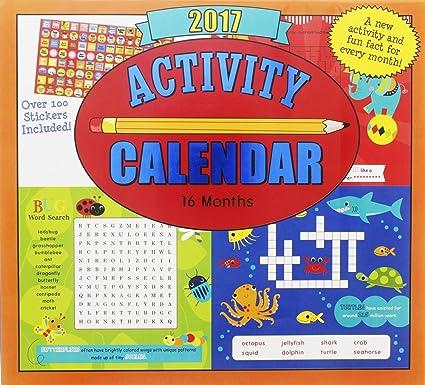 Amazon Com 2017 Monthly Wall Calendar Activity Kids Children