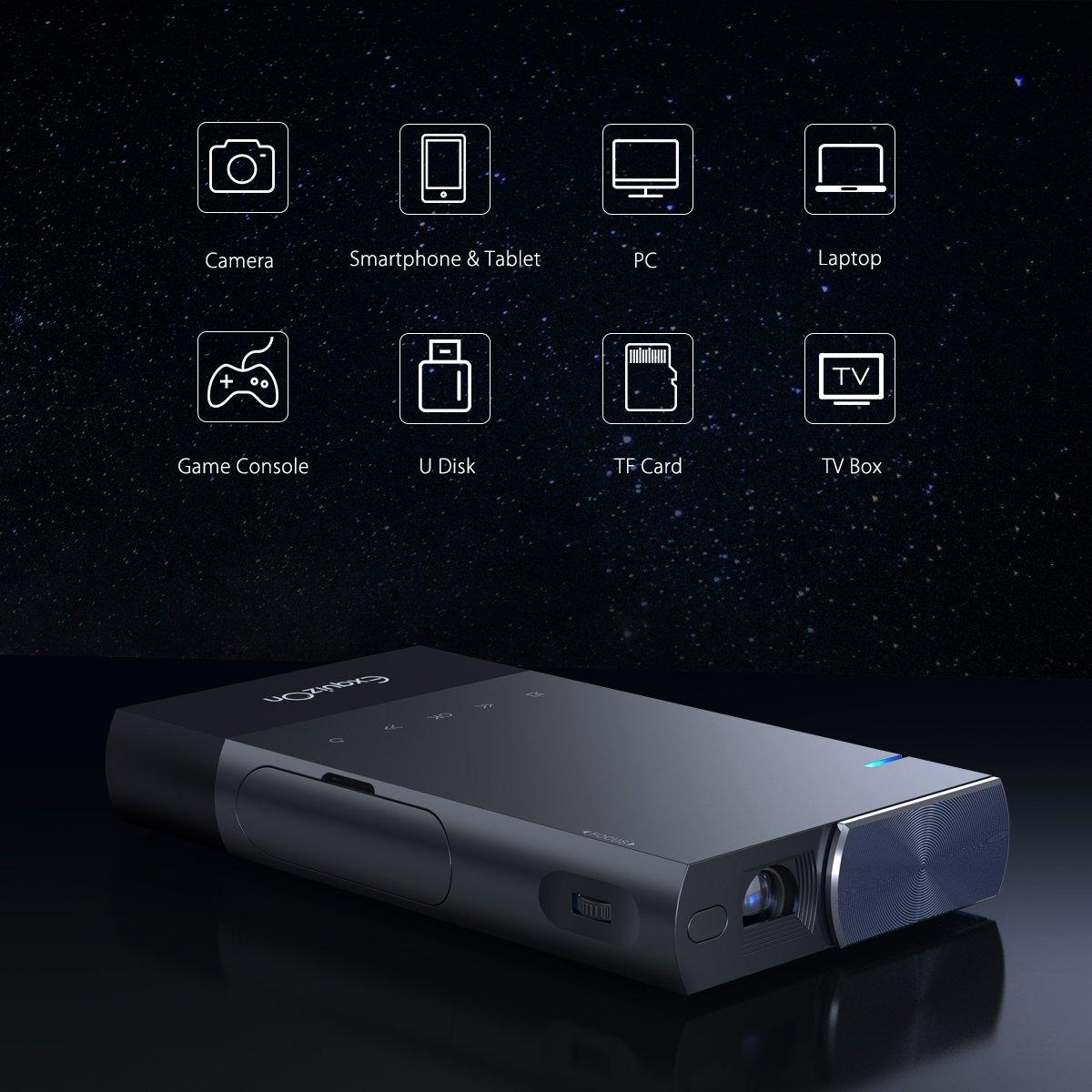 ExquizOn S1 Mini proiettore Portatile 100 ANSI Lumen DLP proiettore Supporto 1080P per iPhone//Android//Giochi//Laptop//TV Box Presentazioni Home Cinema ed Aria Aperta