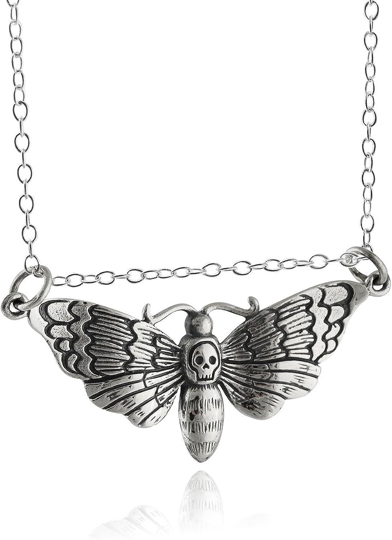 Deathshead moth handpainted cabochon pendant necklace