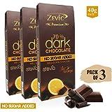 Zevic 70% Belgian Cocoa Dark Chocolate with Orange Zest & Stevia, 120 gm - Triple Pack