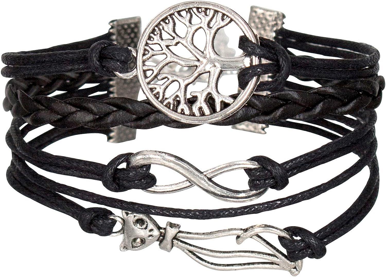 Bracelet infinity infini arbre de vie noir Karma