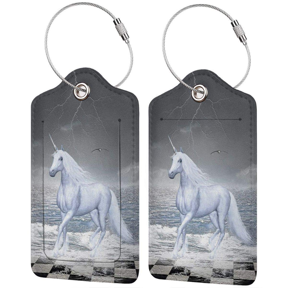 Leather Luggage Tag Sea On Chessboard With A Unicorn Horse Luggage Tags For Suitcase Travel Lover Gifts For Men Women 2 PCS
