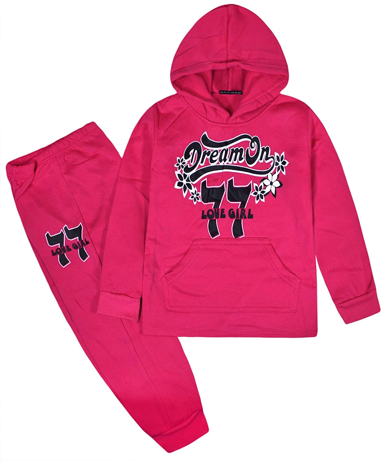 JollyRascals Girls Tracksuit Set Kids Hoodie and Jogging Bottom 2psc Suit New Ages 2 3 4 5 6 7 8 9 10 Years