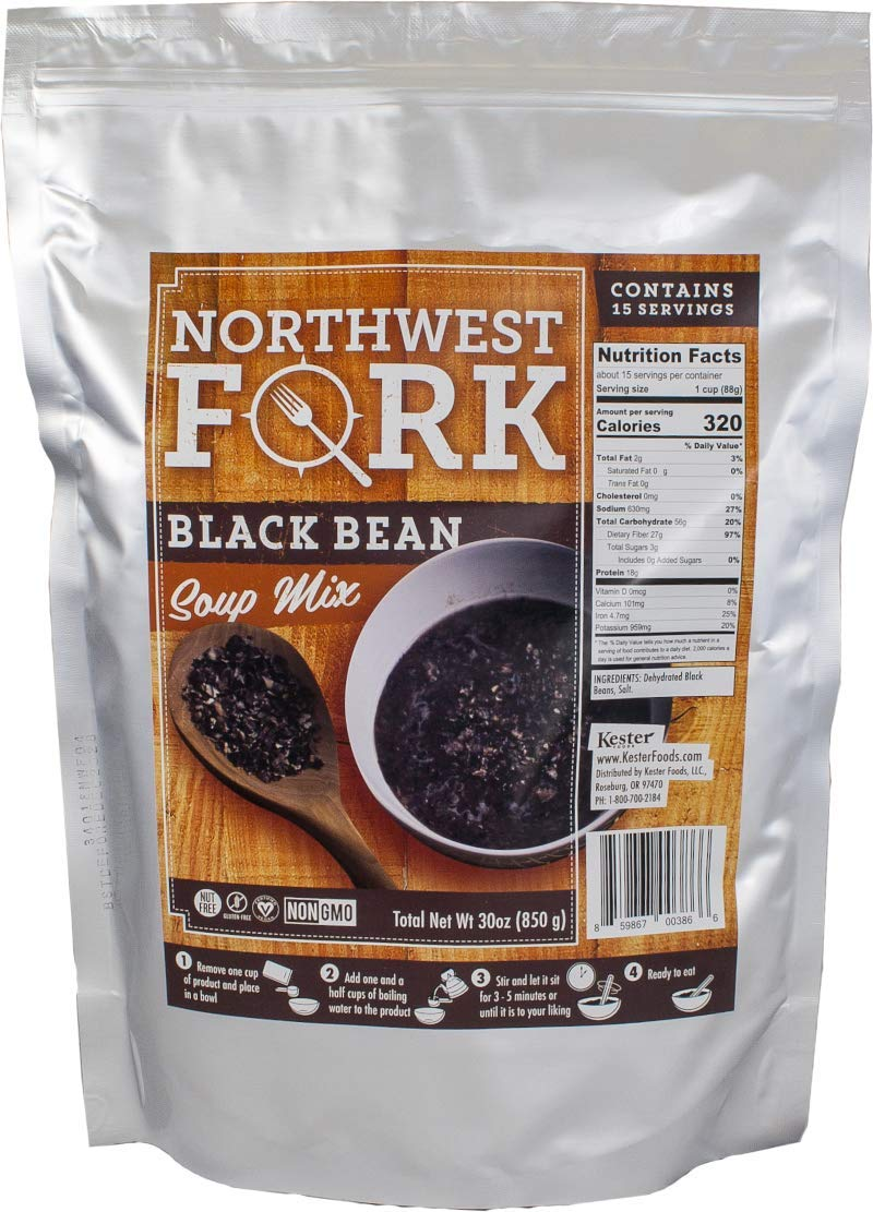 NorthWest Fork Black Bean Soup (Gluten-Free, Non-GMO, Kosher, Vegan) 15 Serving Bag - 10+ Year Shelf Life by NorthWest Fork