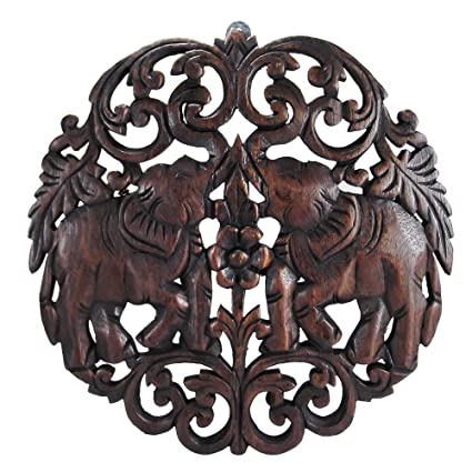 Amazon Com Circular Double Thai Elephant Hand Carved Wood Wall Art