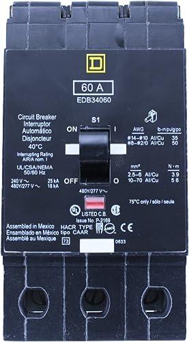 SCHNEIDER ELECTRIC 480Y 277-VOLT 60-AMP EDB34060 Miniature Circuit Breaker 480Y 277V 60A