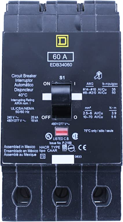 SCHNEIDER ELECTRIC 277-VOLT 60-AMP EGB14060 Miniature Circuit Breaker 277V 60A