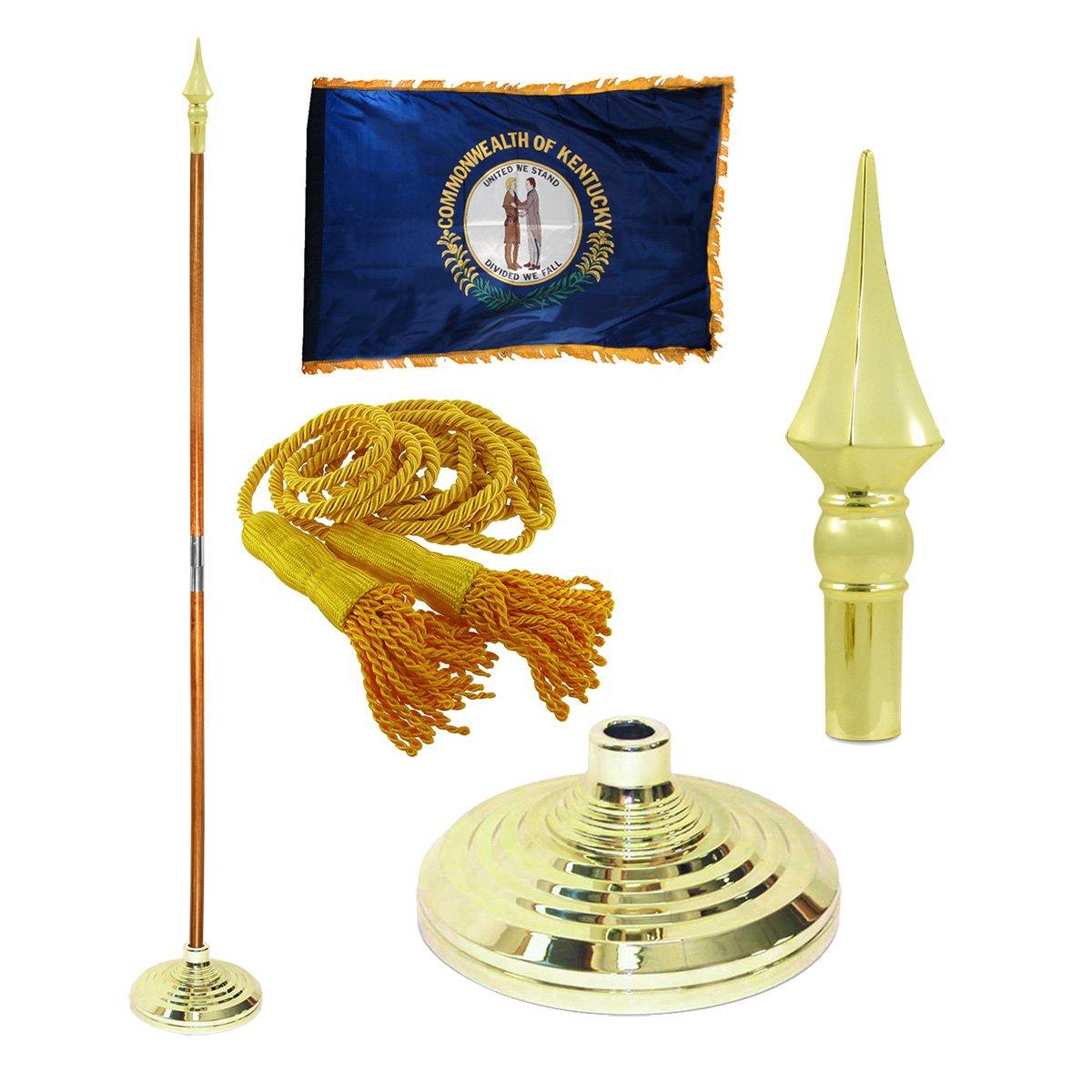 Kentucky 3ft x 5ft Flag, Flagpole, Base, and Tassel (Plastic Spear, 7 Ft Oak Pole)