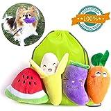 Squeaky Dog Toys, Plush Puppy Pet Dog Toy Gift Set, Dog Teething Training Funny Dog Toys-Pack of 4PCS