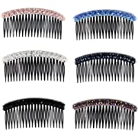 Yeshan 20 Teeth Plastic Hair Side Comb Hair clip with 2 rows crystal decoretion for Women and Girls,4 inch(Mixed 6…