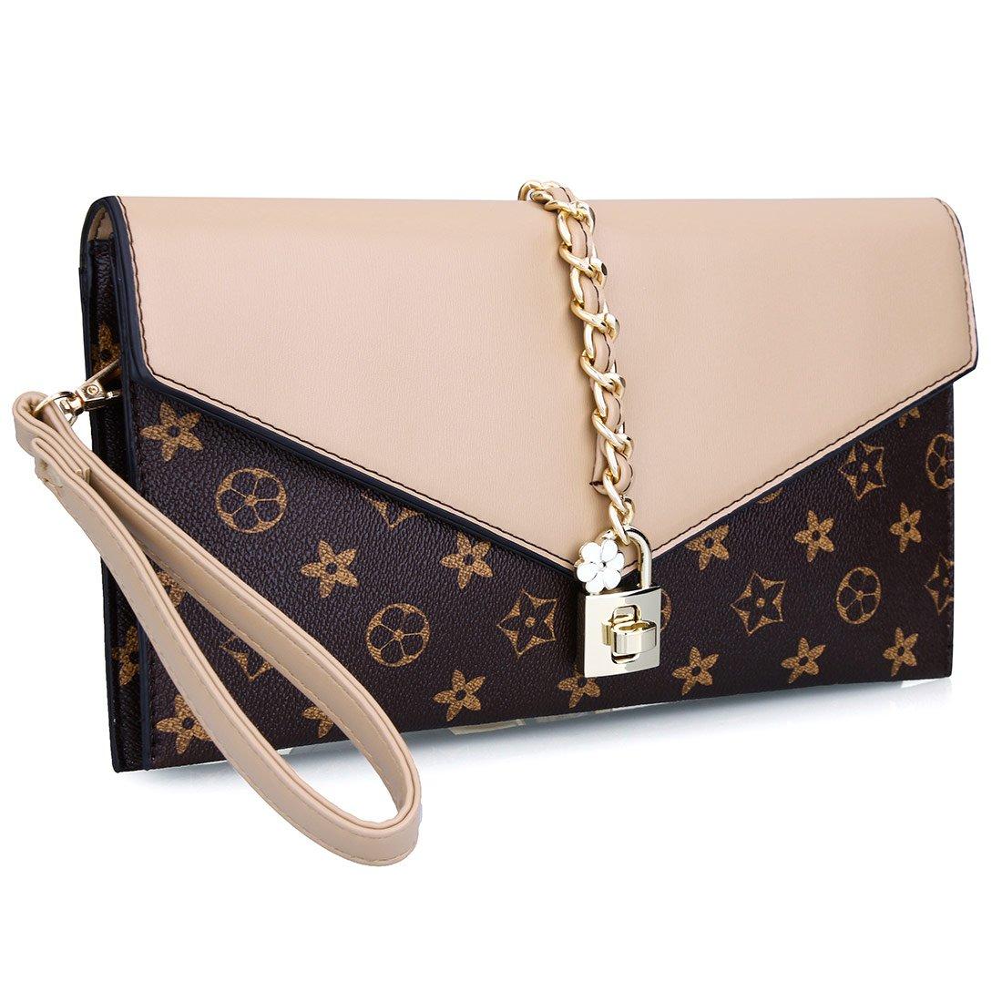 Women Flower Designer Evening Clutch Crystal Evening Handbag with Lock (Beige)