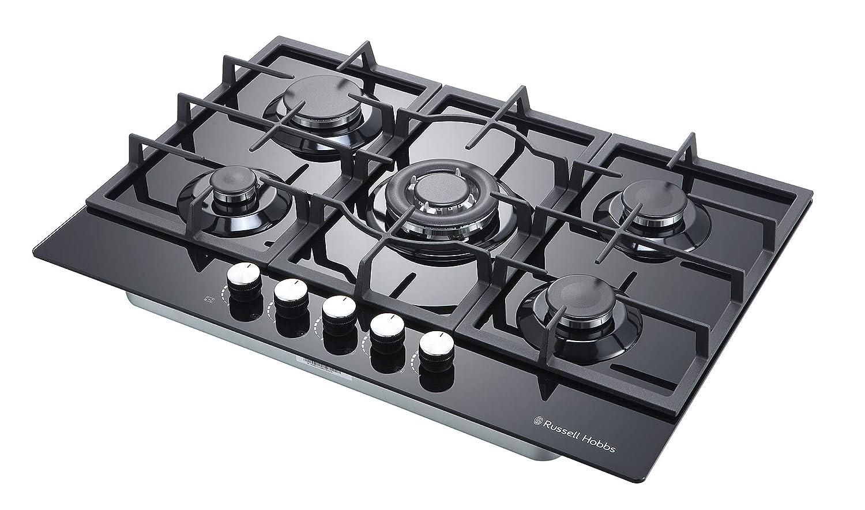 75 cm Black Russell Hobbs RH75GH602B Glass 5 Burner Gas Hob