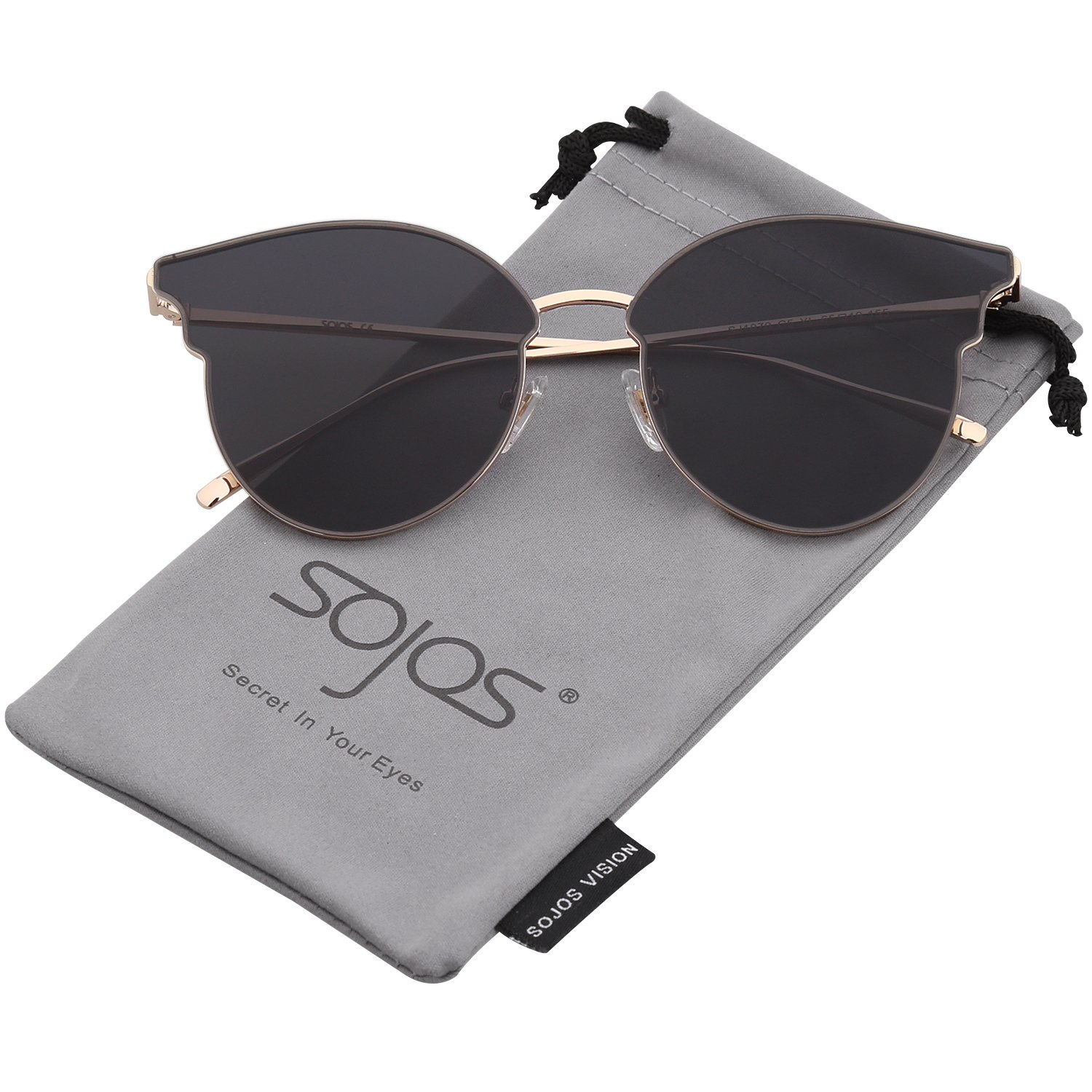 047d306c0d SOJOS Fashion Cateye Sunglasses for Women Oversized Flat Mirrored Lens  SJ1055 with Thin Gold Frame Grey Lens