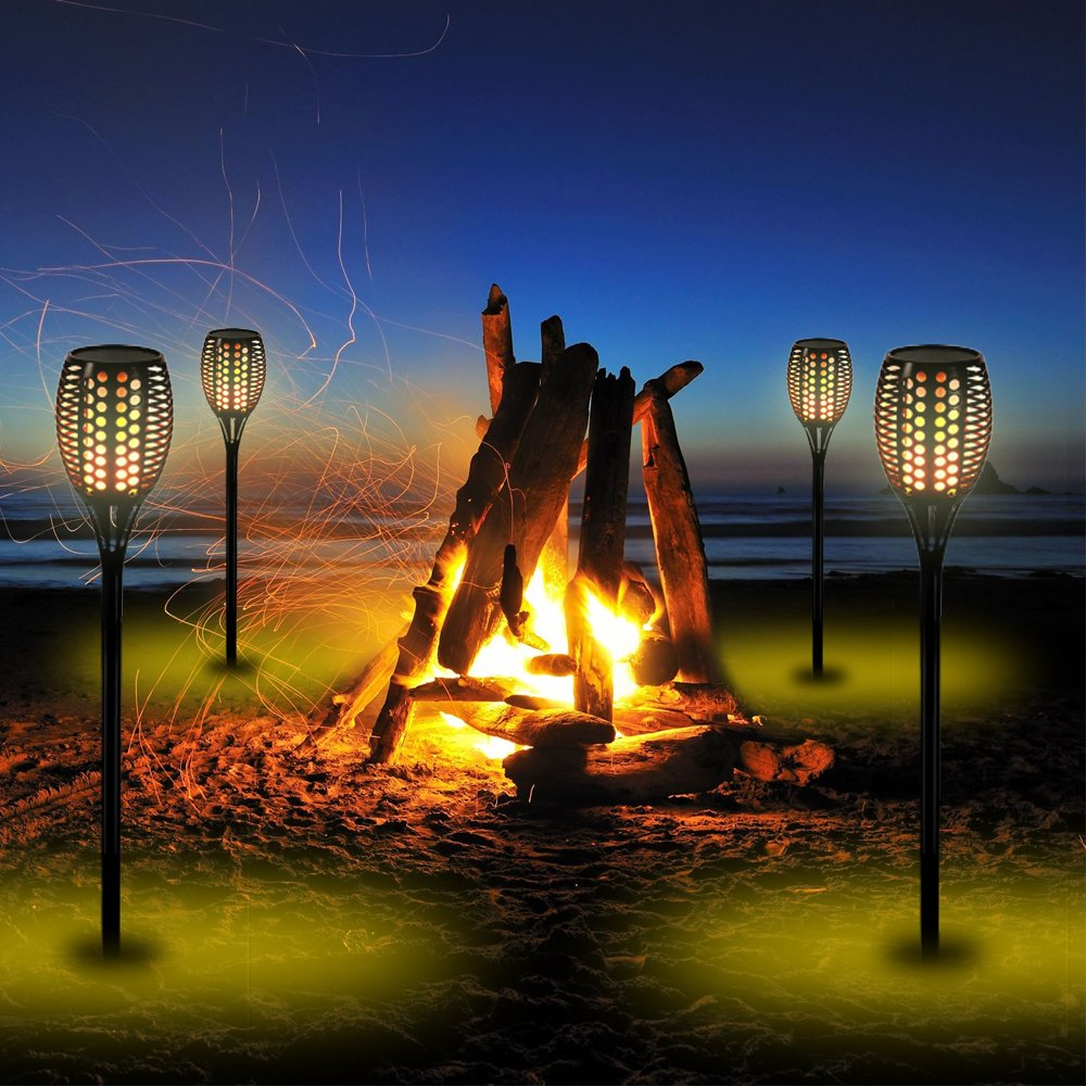 Solar Tiki Light By Kshioe,96LED Waterproof Flickering Flames Torches Lights Outdoor Landscape Decoration Lighting Dusk to Dawn Auto On/Off Security Path Light for Garden Patio Deck Yard Driveway (8) by Kshioe (Image #8)