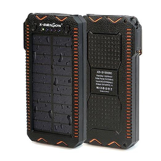 5 opinioni per X-DRAGON Caricatore Solare 15000mAh Caricabatteria Portatile Doppio USB con