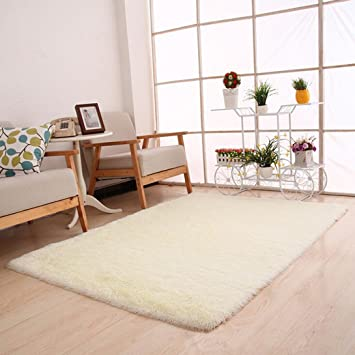Iuhan Fashion Fluffy Rugs Anti-Skid Shaggy Area Rug Dining Room Home  Bedroom Carpet Floor Mat (White)