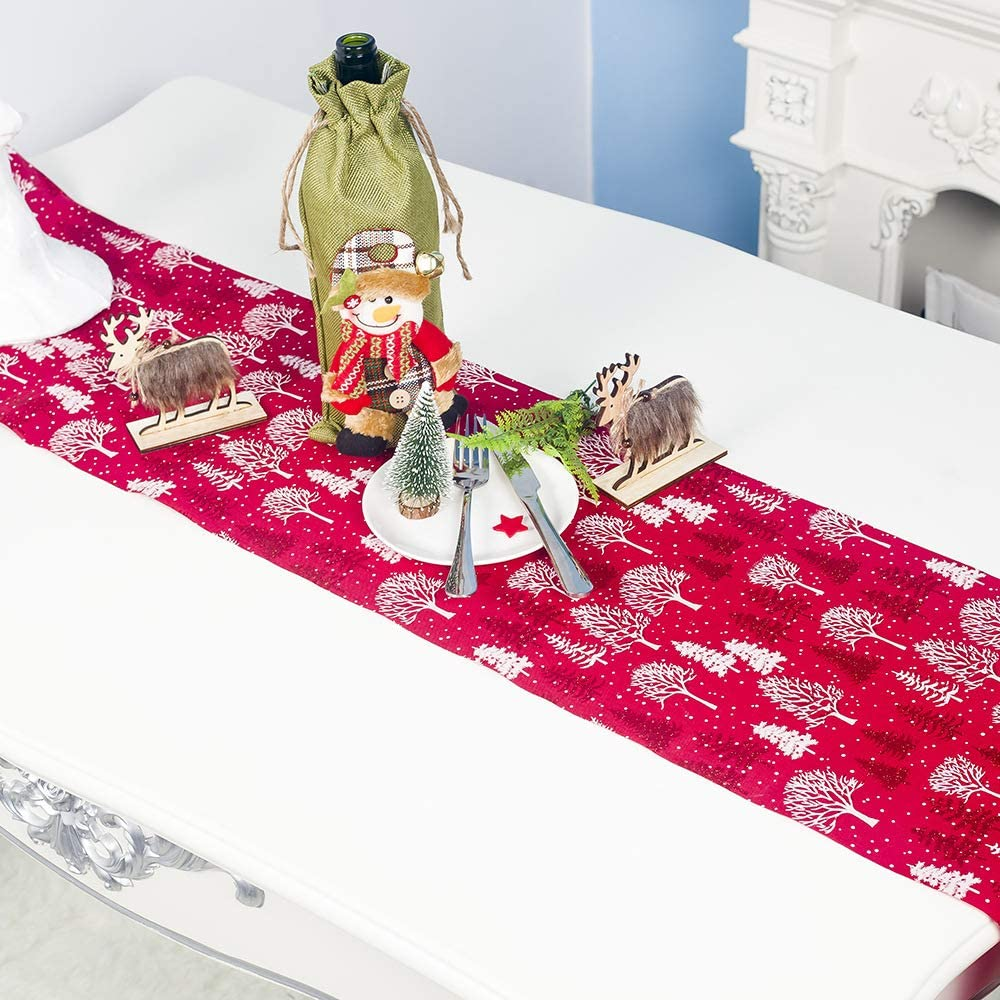 Cross Stitch Snowflake Rosy Red 72 x 13 Cotton Fabric Christmas Table Runner