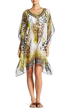 9781a42344 Animal Print Sheer Kaftan Beach Cover Up at Amazon Women's Clothing store: