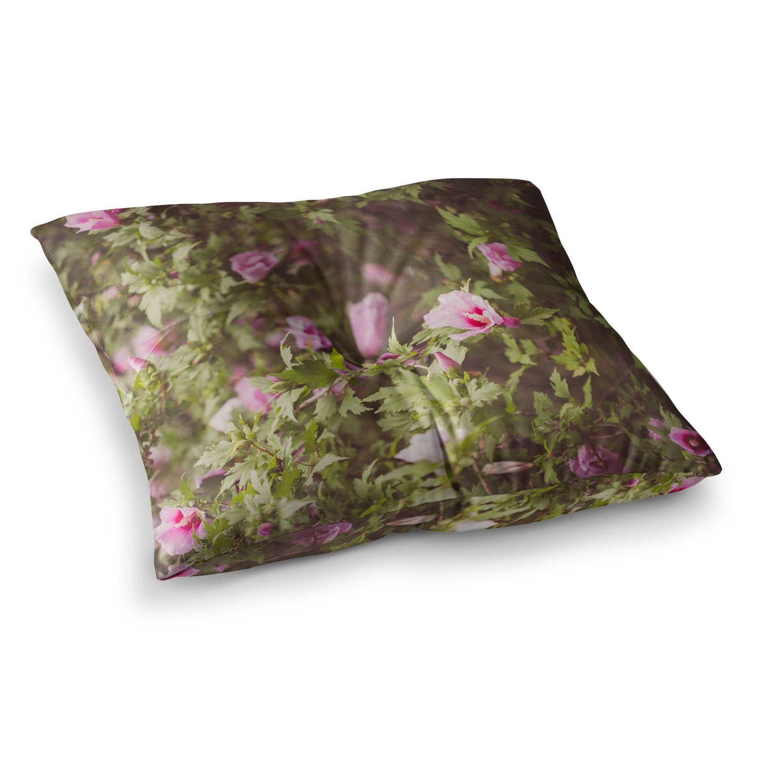 Kess InHouse Ann Barnes Lush Green Pink, 26' x 26' Square Floor Pillow