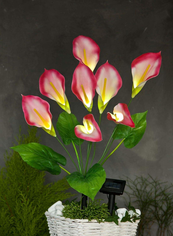 buri led solar kunstblume calla rot 63cm lilie kunstpflanze terrassendeko balkondeko. Black Bedroom Furniture Sets. Home Design Ideas