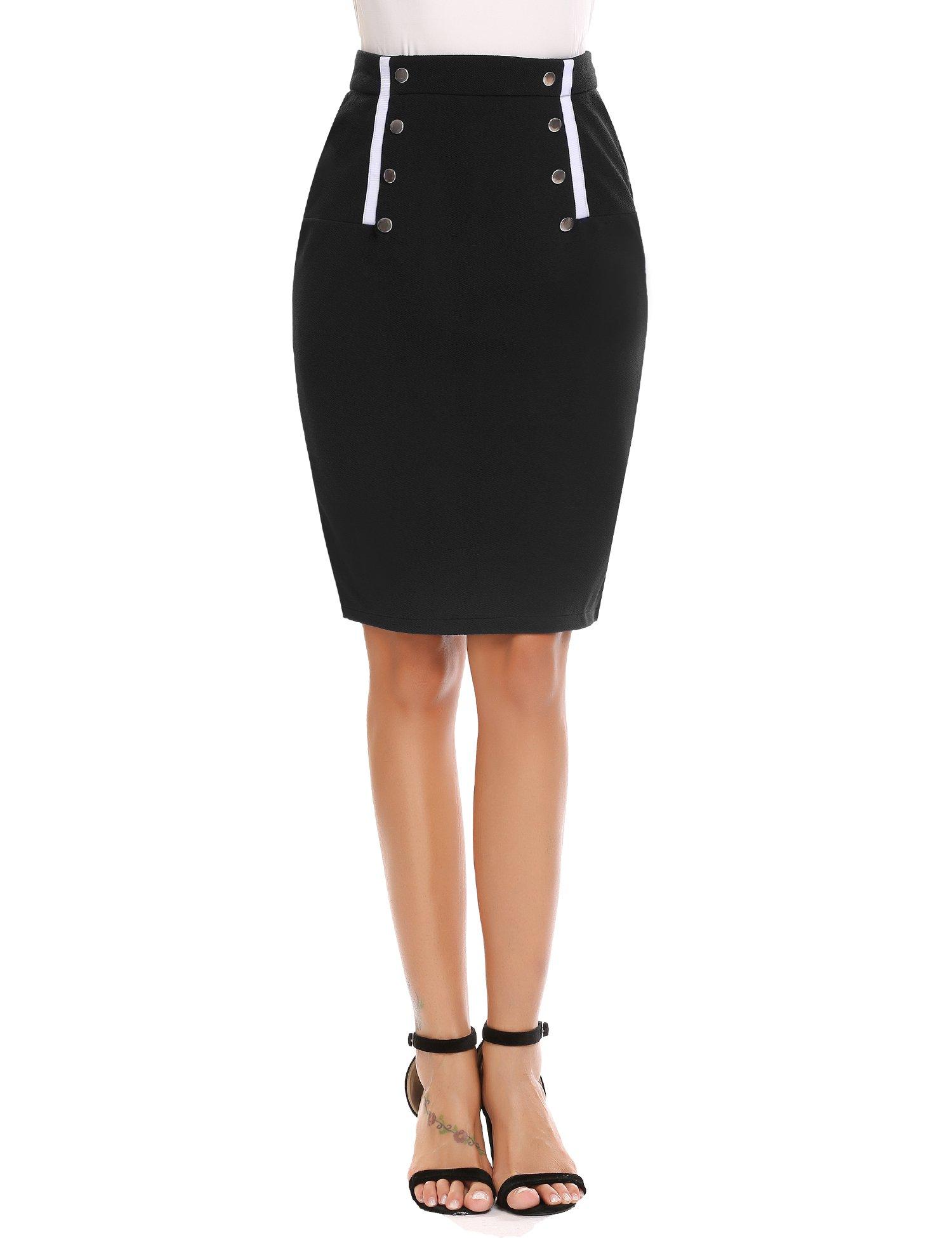 a4642a5dd4 Women's High Waist Knee Length Bodycon Pencil Skirt for Work Front Metal  Button Down Detail Pencil Skirt