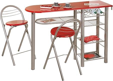 Interlink Brigitte Kitchen Bar Plus 2 Stools Red Amazon Co Uk Kitchen Home
