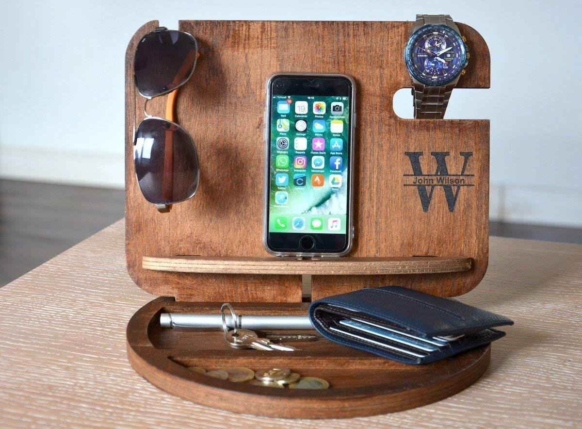Amazon Com Wood Desk Tray Desk Organizer Wood Organizer Mens Valet Mens Christmas Gifts Mens Wood Organizer Gift Ideas For Men Boyfriend Gifts Handmade