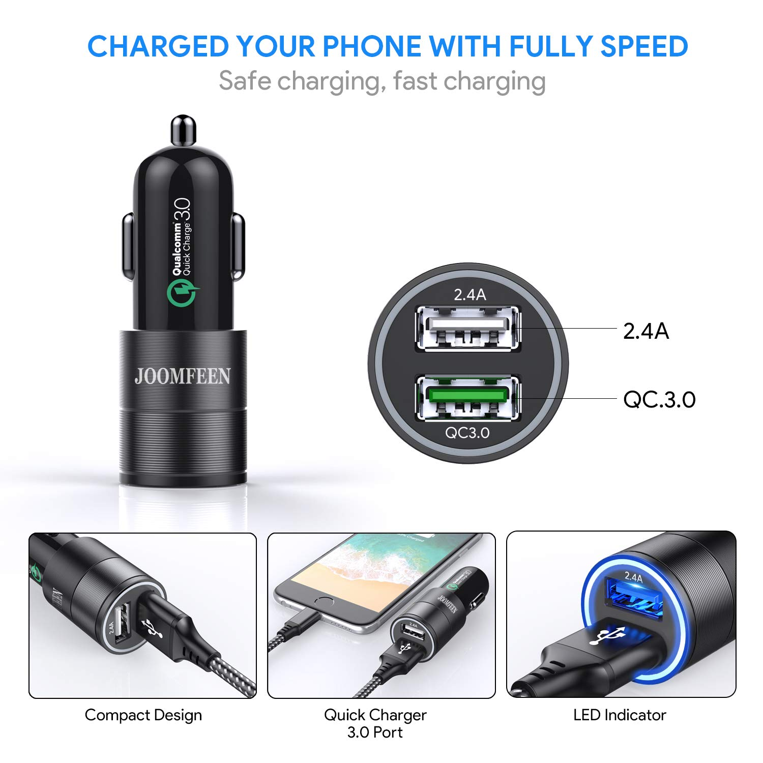 Qualcomm Quick Charger 3.0+2.4A 30W Rapid Dual Port USB Car Charger Adapter with 3FT Charging Cable for Phone XR XS Max X 8 Plus 7 Plus 6s Plus 6 Plus 5S CC003 JOOMFEEN Car Charger