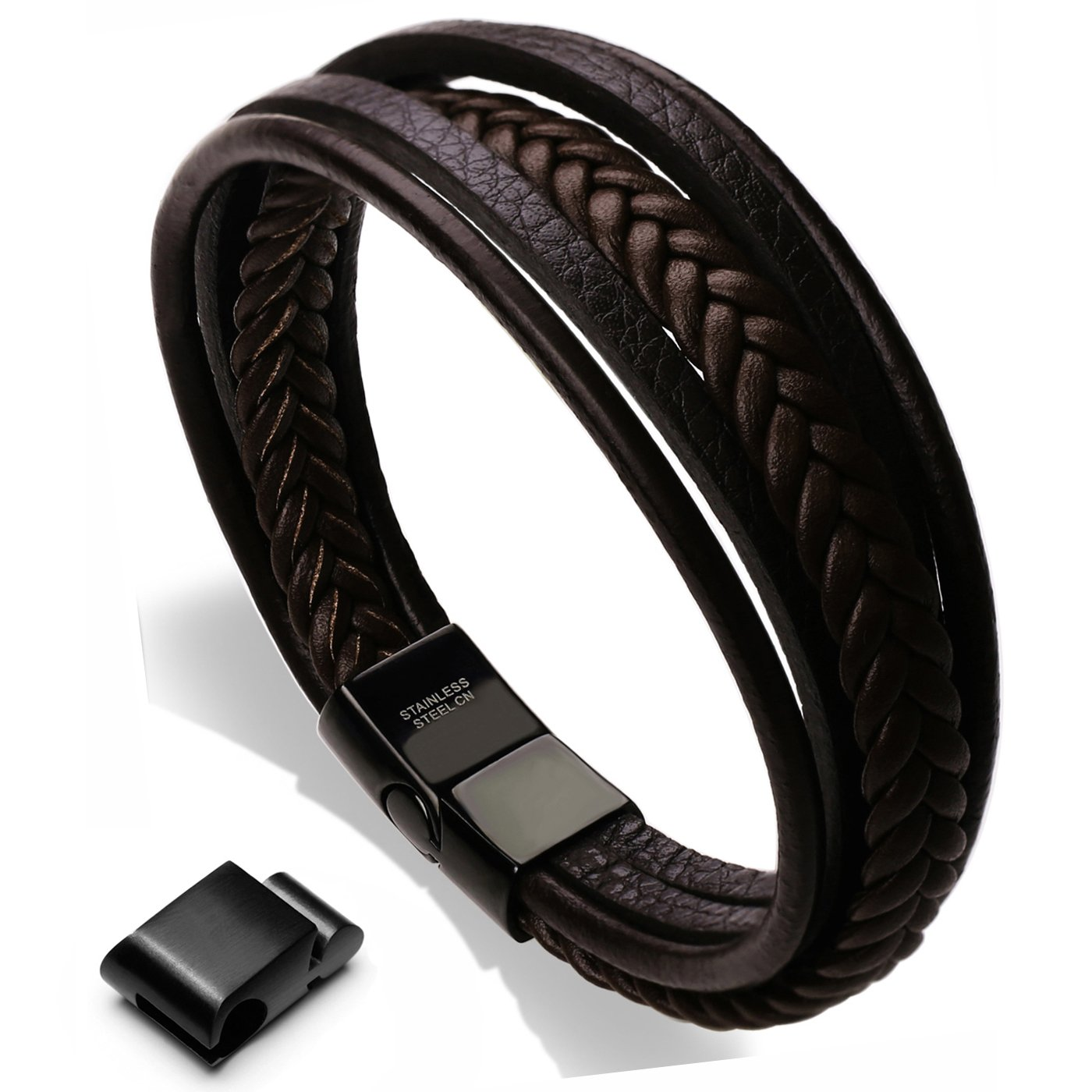 Murtoo Mens Cowhide Leather Braided Bracelet Magnetic-Clasp Multi-layer Wrap Bracelet, 8.85 inch 8.85 inch (Black) BMT160602A