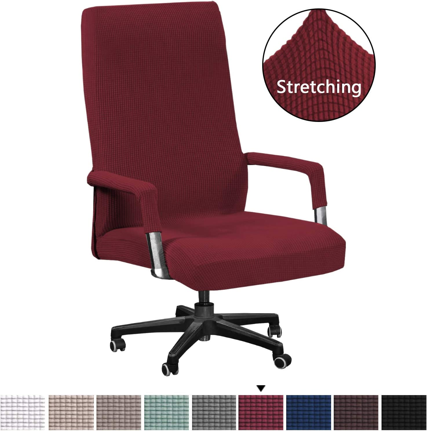 H.VERSAILTEX Burgundy Red Office Chair Covers with Arm Covers Featuring Jacquard Textured Twill Fabric Computer Chair/Desk Chair/Boss Chair/Rotating Chair/Executive Chair Cover, Oversized