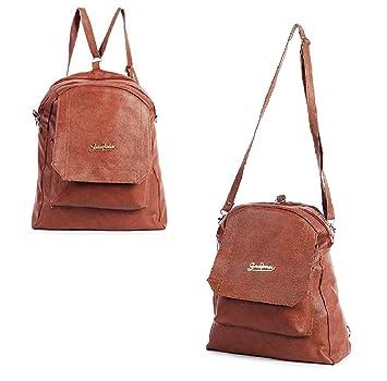 1a279cb527a MultiZone Sale 2 in 1 Brown Backpack Cum Shoulder Handbag - School College  Office Sling Bag Backpack - PU Leather Water Resistance - Multipurpose ...