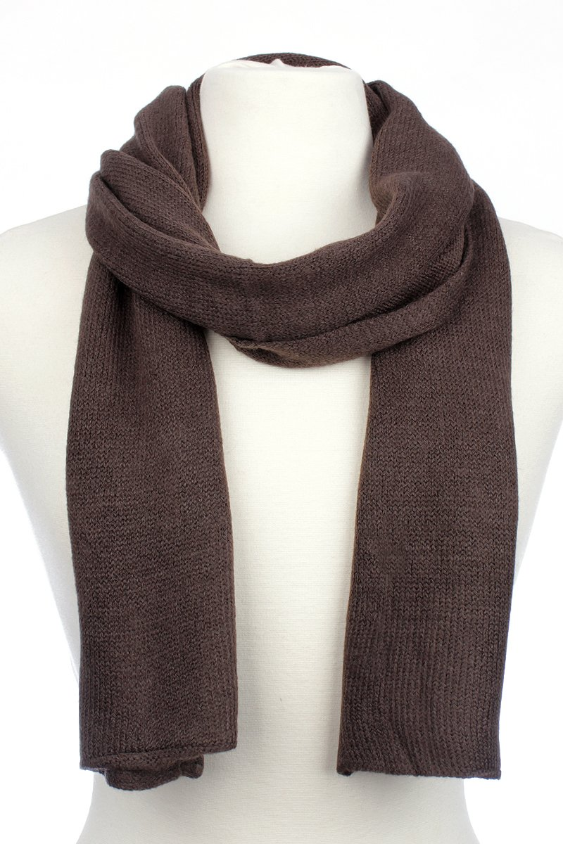AN1225 Men's, Women's or Kids Basic Plain Knit Solid Color Scarf Muffler, Easy Neck Wrap (Brown)