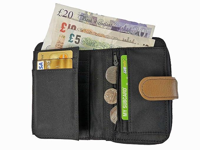 Monedero De Piel 2 Monedero Con Cremallera Secciones con 5 Bandejas 6 Tarjetas De Crédito QL841 - Multi: Amazon.es: Equipaje